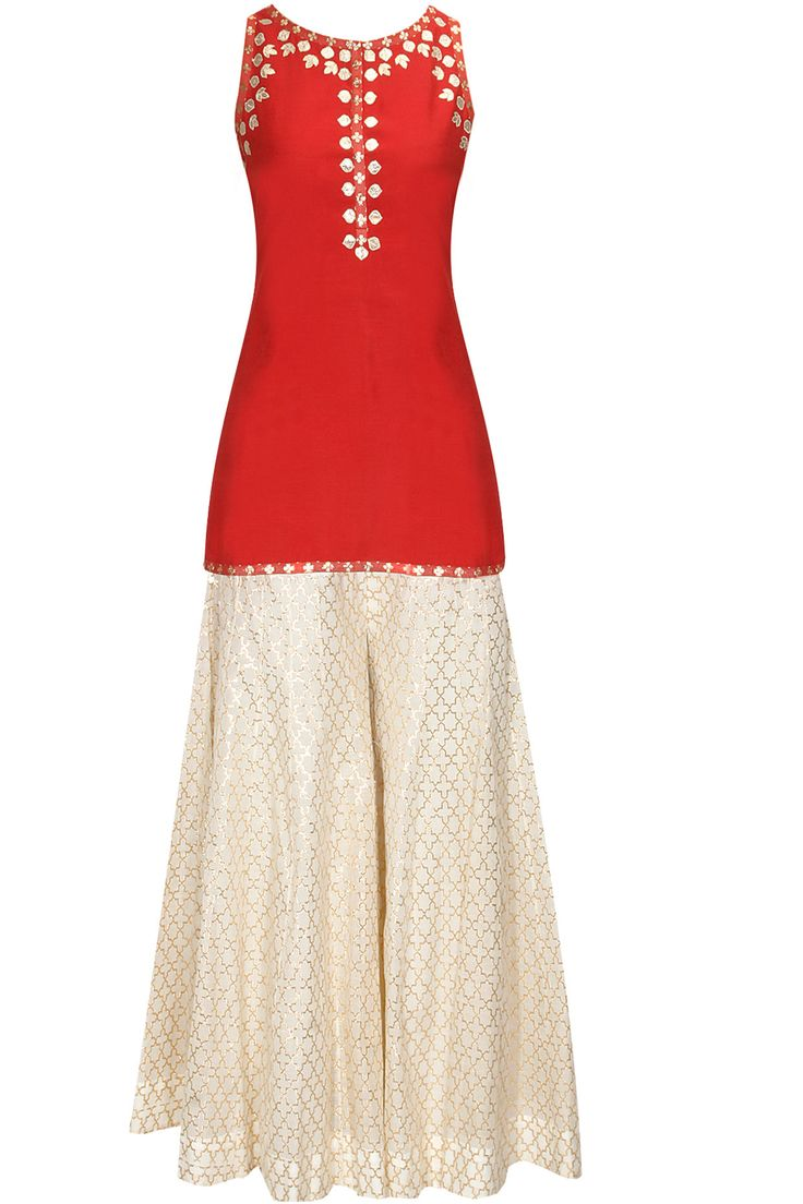 Red and white high low kurta sharara set with yellow dupattaavailable only at Pernia's Pop Up Shop.