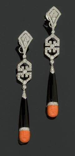 Art Deco Onyx, Coral and Brilliant-cut Diamond Pendant Earrings
