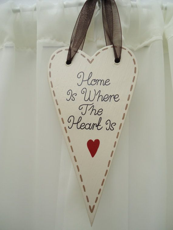 Handmade 'Home is where the heart is' wooden plaque on Etsy, £5.50