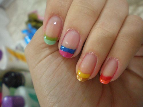 Colourful!French Manicures, Nails Design, Rainbows Colors, Shorts Nails, Colors Nails, French Tips, Winter Nails, Nails Art Design, Rainbows Nails