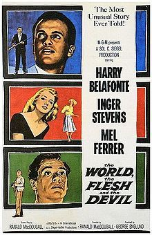 """Film: The World, the Flesh, & the Devil 1959 - based on prophetic 1902 novel The Purple Cloud by Matthews Phipps Shiel. A black miner in PA getting trapped in a cave-in, unable to communicate above ground co-workers. He digs himself out - escapes - discovers he is totally alone - no trace of human life anywhere. A newspaper headline - """"Millions Flee from Cities! End of the World"""" provides a partial clue,armed with a gun & provisions, he journeys to NYC, & appears deserted.  (TCM)"""