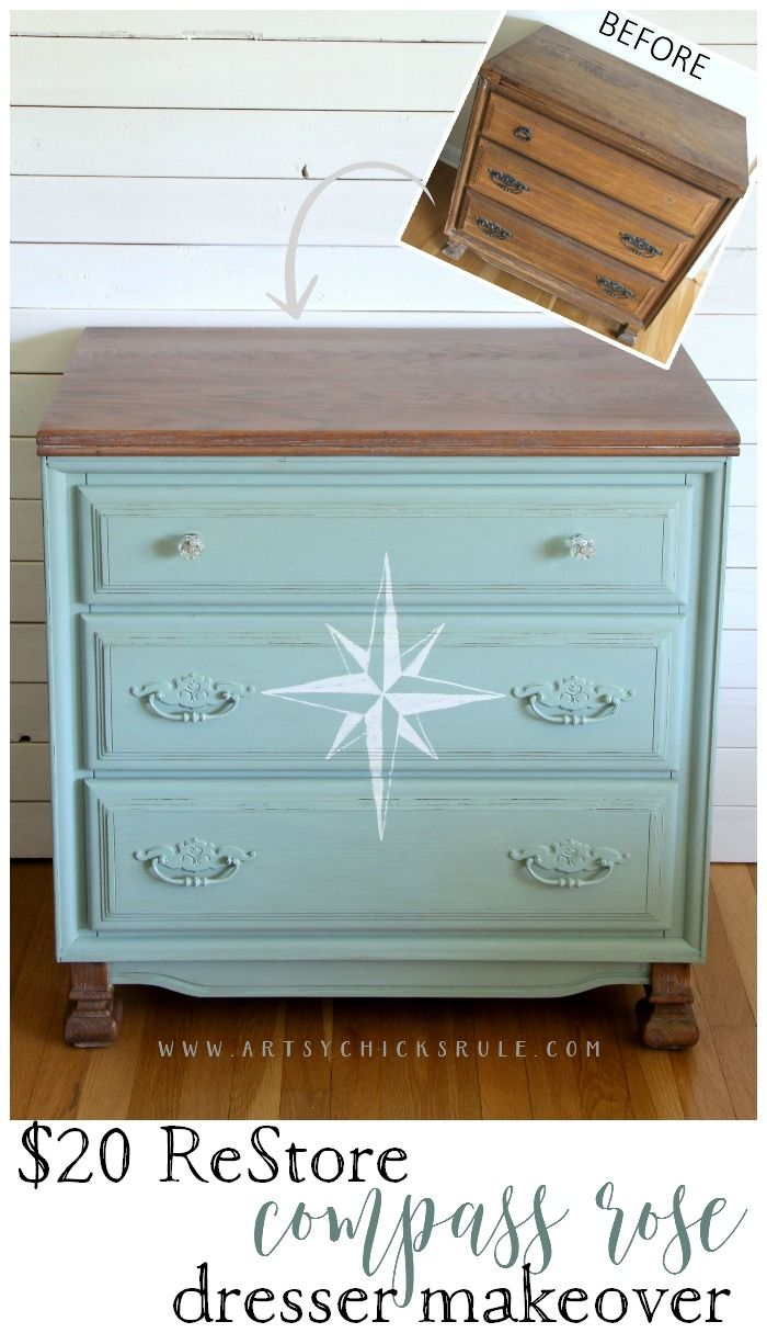 $20 ReStore Dresser Turned Compass Rose Dresser....can't beat that! Thrifty furniture is the way to go to decorate your home on a budget!