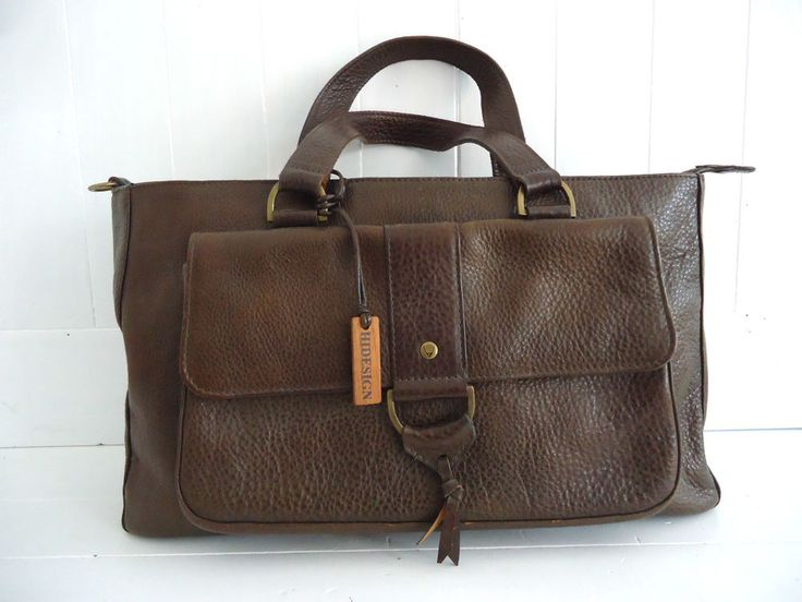HIDESIGN BROWN GENUINE REAL LEATHER GRAB BAG TOTE HANDBAG DOUBLE CARRY HANDLE