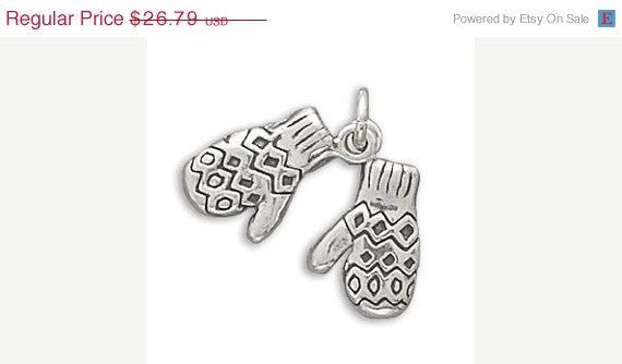 NOW ON SALE Sterling Silver Mittens Charm by jewelrymandave