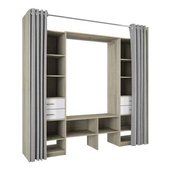 Wardrobe Kit 4 Drawers 1 Rail 4 Nooks With Curtain Oak Leroy Merlin South Africa Home Decor Tall Cabinet Storage Home