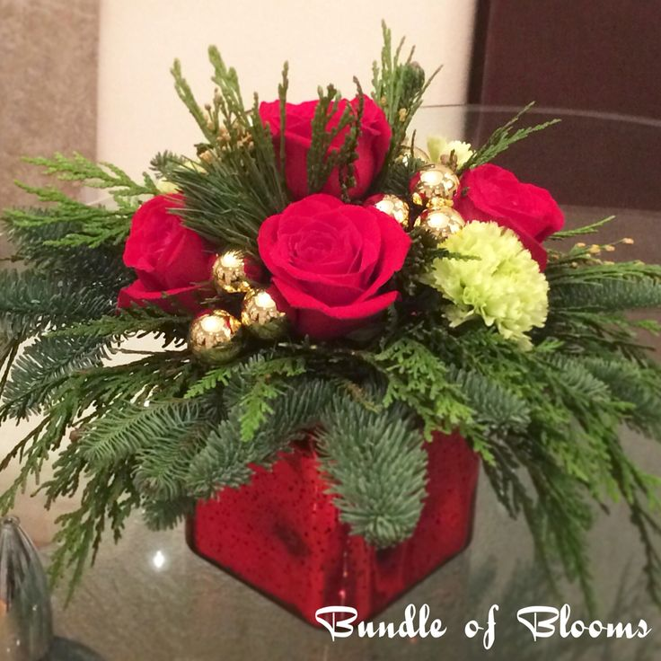 Traditional Christmas red arrangement $28Cad