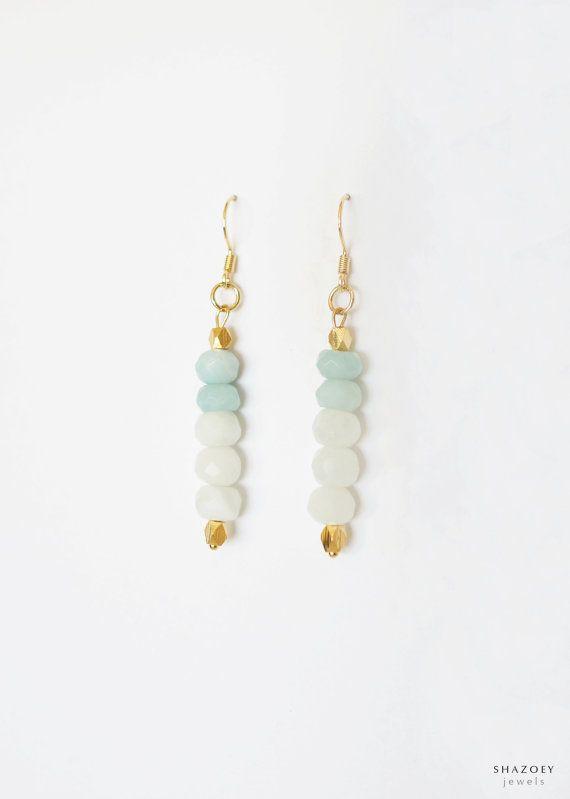 $41.42 Amazonite & White Jade Earrings . Gold Drop Delicate Dainty . Mint Green - ELLA on