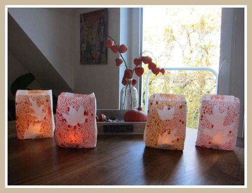 windlicht laterne spritztechnik basteln mit kindern pinterest herbst herbstlaub und bl tter. Black Bedroom Furniture Sets. Home Design Ideas