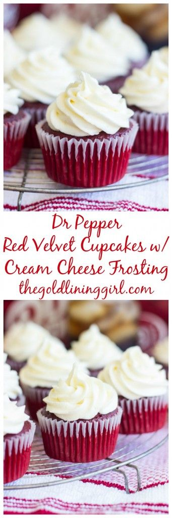 Moist red velvet cupcakes with cream cheese frosting, with extra flavor from the addition of Dr Pepper! #ad #CollegeFootballChampSweeps