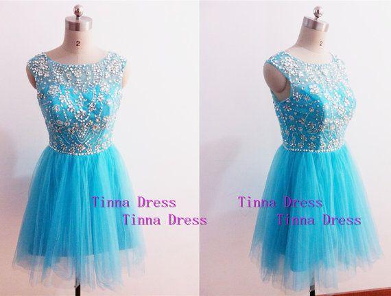 New Arrival short prom dress, blue cocktail dress with rhinestones , Bridesmaid dresses,  short bridesmaid dress