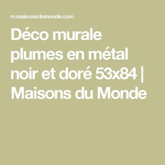 Déco murale plumes en métal noir et doré 53x84 | Maisons du Monde