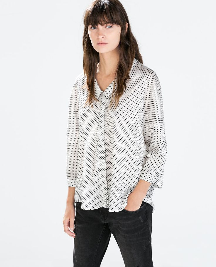 Image 1 of POLKA DOT KIMONO SLEEVE BLOUSE from Zara