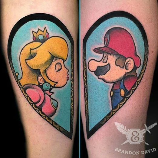 Cute Princess Peach and Mario Tattoo by Brandon David