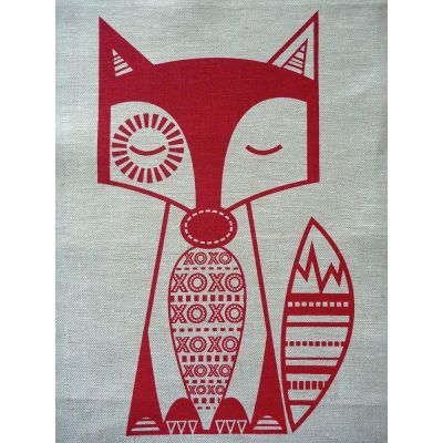 Finn McTrickster Red on Flax Craft Panel