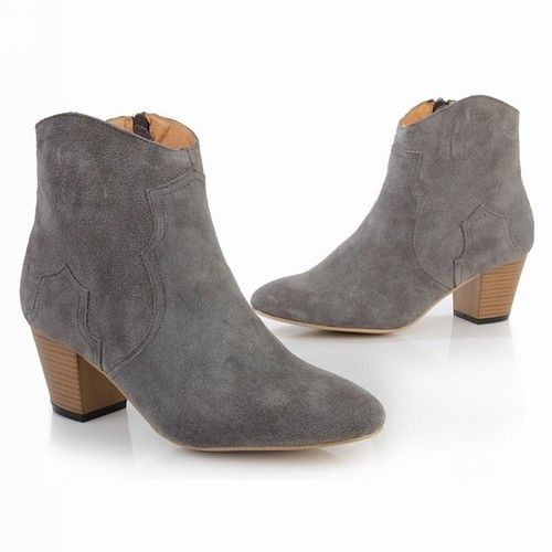 Isabel Marant Dicker Gris Suede Ankle Boots