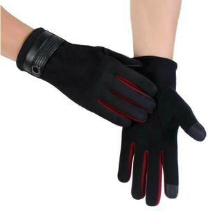 sarung tangan pria musim dingin / winter bs touch screen bahan katun dan campuran kulit