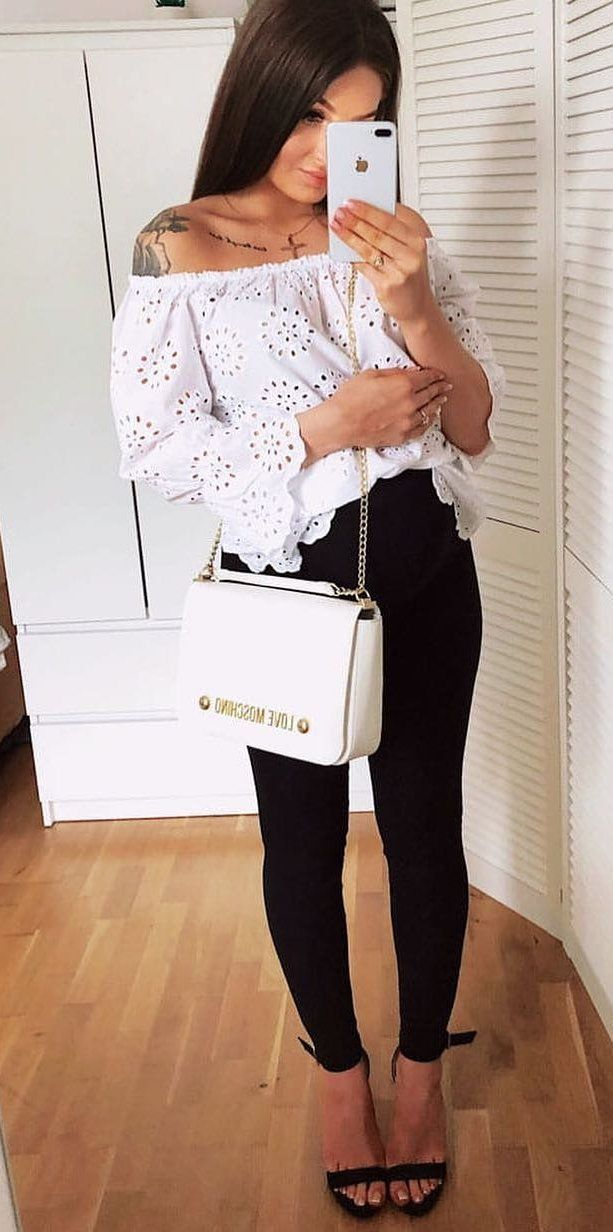white off-shoulder top #spring #outfits