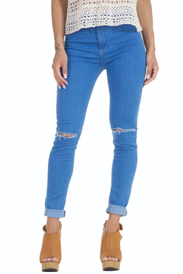 Παντελόνι τζιν απαλό μπλε με σχισίματα στα γόνατα γυναικείο glamorous