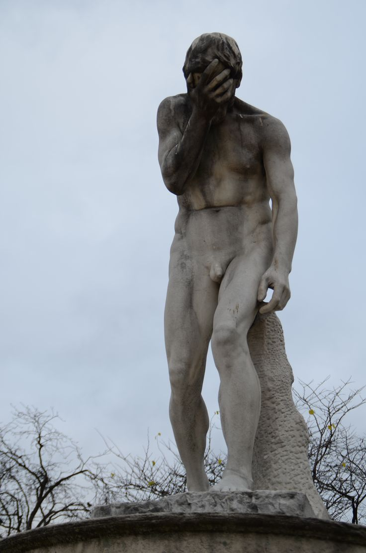 """Henri Vida's statuel is entitled """"Cain venant de tuer son frere Abel"""" or """"Cain coming from having killed his brother Abel, near the entrance of the Tuileries Garden, Paris, France (c) Floresence"""