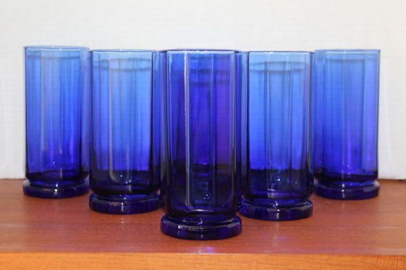 Vintage Cobalt Blue Hexagon Tallboy by campeauscollectables