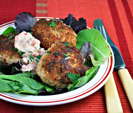 Cod Cakes with red pepper, tarragon & yogurt remoulade. Make small ones as party apps and the remoulade can be make in advance.