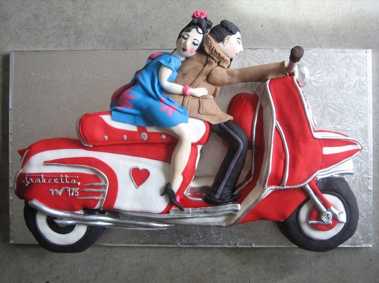Lambretta Lovers' Scooter - wedding anniversary cake