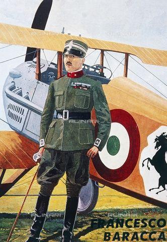 Portrait of Francesco Baracca (Lugo di Romagna, 1888, Nervesa della Battaglia, 1918), Italian Air Force pilot and ace during the World War I (1915-1918), Italy, 20th century, Credits: DeA Picture Library, licensed by Alinari