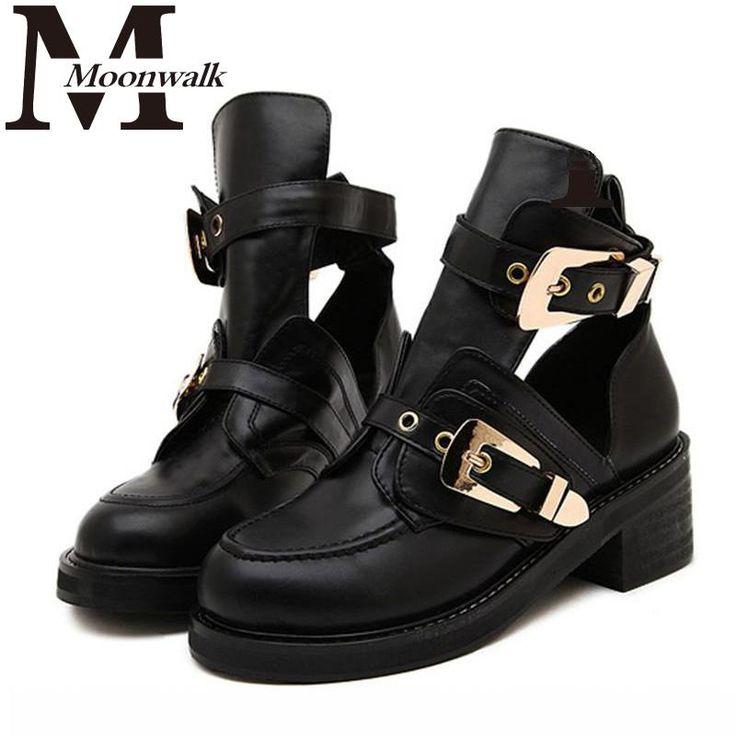 Купить Высокое качество 2016 бренд класса люкс летний стиль женщины ботильоны на каблуках пряжки полые кожа женские туфли панк женские сапоги X0749и другие товары категории Сапоги и ботинкив магазине Moon walk's storeнаAliExpress. обуви супинатора взрослых и пряжкой башмак