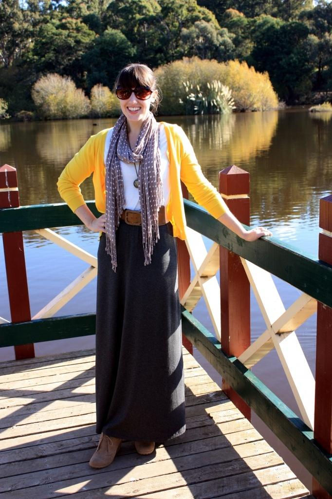 maxi skirt with cardigan (adds a pop of color)