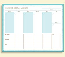 Lots of free printables - party planning, week-at-aglance, Meal planner, to-do/to-delegate, weekly family calendar and more