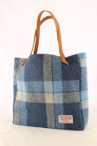 Blue & Grey Check Harris Tweed Tyne Tote