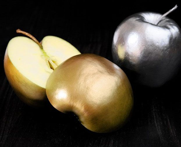 Fruit sprayed with edible gold and silver -party time!