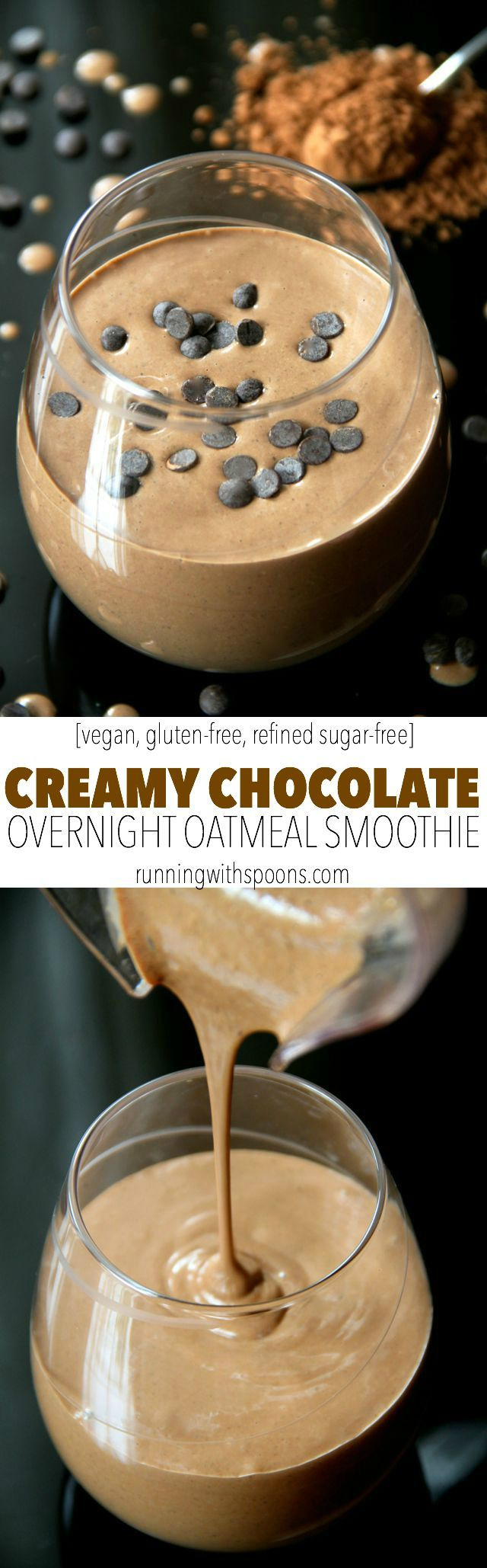 Chocolate Overnight Oatmeal Smoothie -- smooth, creamy, and sure to keep you satisfied for hours! This vegan smoothie will knock out those chocolate cravings while providing you with a balanced breakfast or snack || runningwithspoons.com #vegan #healthy #recipe
