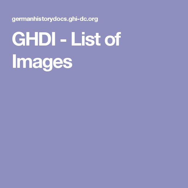 GHDI - List of Images
