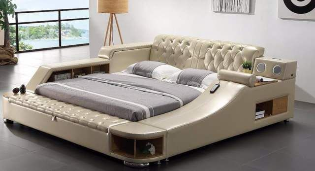 Online Shop Real Genuine Leather Bed With Massage Double Beds
