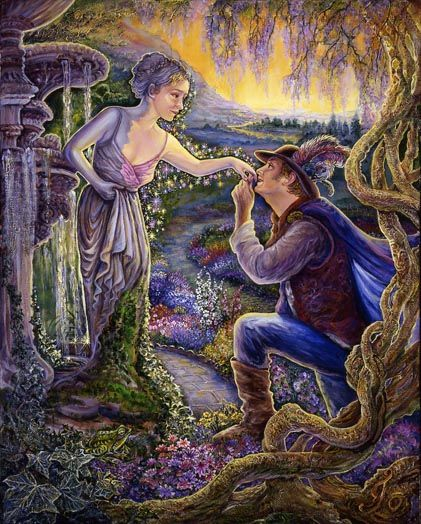 Kiss of Life by Josephine Wall #art #Wall #fantasy  As the handsome Prince wanders through the enchanted garden, he comes upon a fountain and is drawn to the beauty of the statue of a young maiden. Without knowing why, he plants a tender kiss upon her hand, and to his amazement, and joy (as if a spell is broken), she slowly comes to life, and the cold stone is transformed into warm flesh. He knows he has found his one true love. Fairytales can come true.!    Josephine.    (Acrylic on Canvas)…
