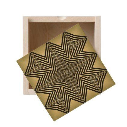 Art Deco Black and Gold Diamond Pattern Wooden Keepsake Box - gold gifts golden customize diy