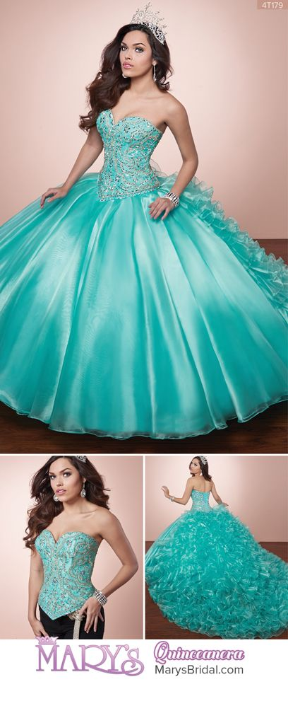 Style 4T179: 2 piece organza quinceanera ball gown with a beaded bodice, lace-up back, skirt with ruffles on the back, semi-cathedral train, and matching bolero. From Mary's Quinceanera Fall 2016 Alta Couture Exclusive Collection
