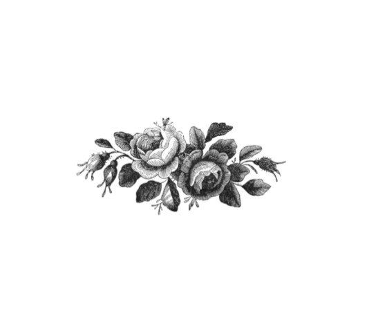 Vintage Black and White Roses Temporary Tattoo