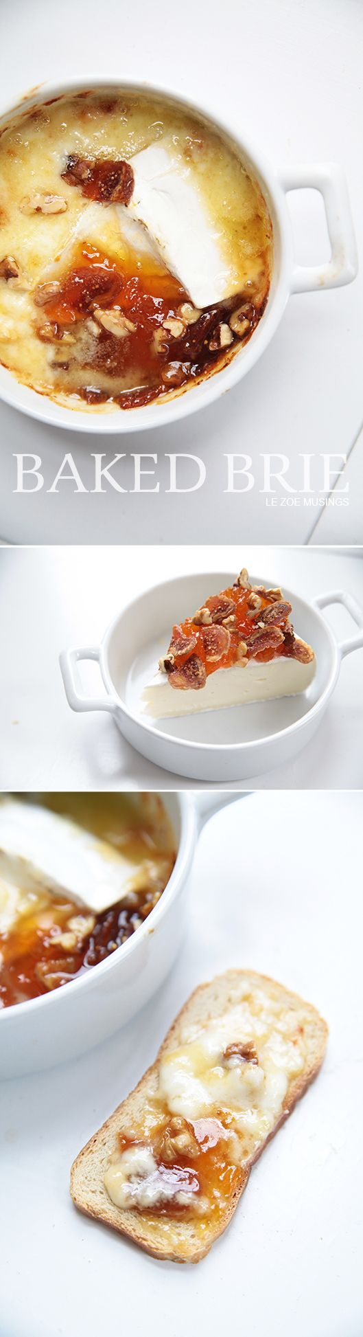 Baked Brie with Apricot Jam, Figs, and Walnuts. Less than 15 mins to make!
