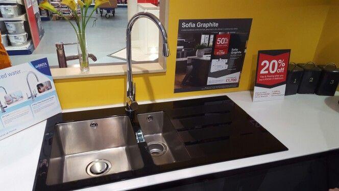 Wickes rae black glass 1.5 bowl sink | Kitchen Ideas | Pinterest ...