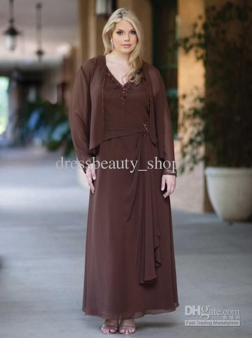 mother of the bride plus size ankle length dresses   Neck Ruffles Ankle Length Coffee Plus Size Mother of the Bride Dresses ...