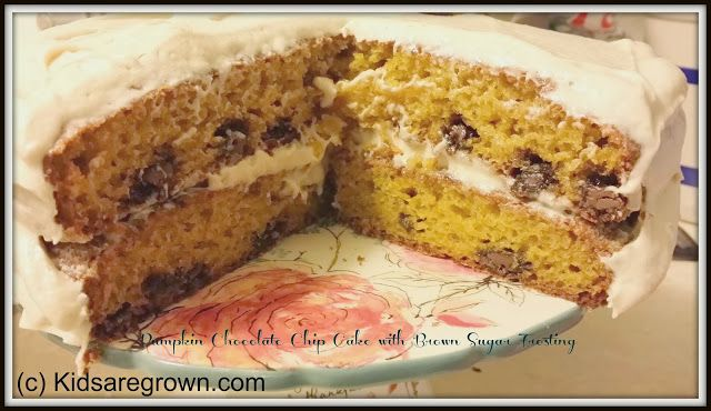 The kids are grown, now what?: Pumpkin Chocolate Chip Cake with Brown Sugar Frosting