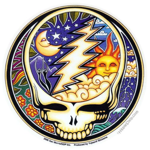 Pete's Curtain Grateful Dead - Day & Night Steal Your Face Bumper Sticker on Sale for $2.99 at HippieShop.com