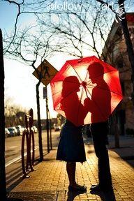 Red umbrella silhouette ...engagement photos!