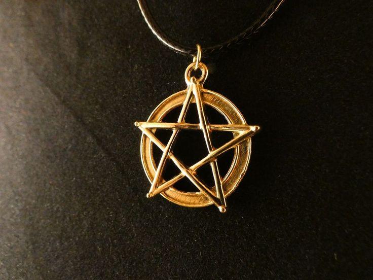Pentagramm Anhänger mit Kette 24 Karat Vergoldet Gold Gesundheit Magie Leben