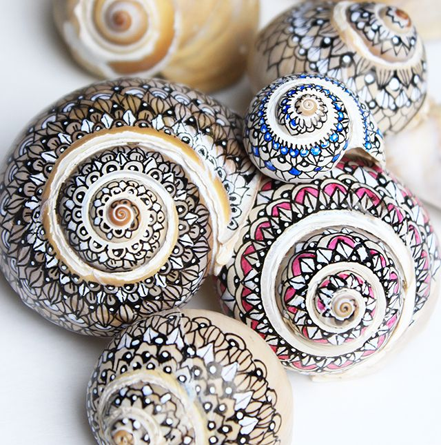 Zentangle art on sea shells...DIY tutorial