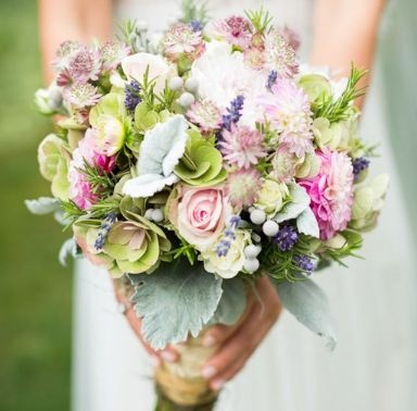 textured purple dusky pink and green wedding bouquet
