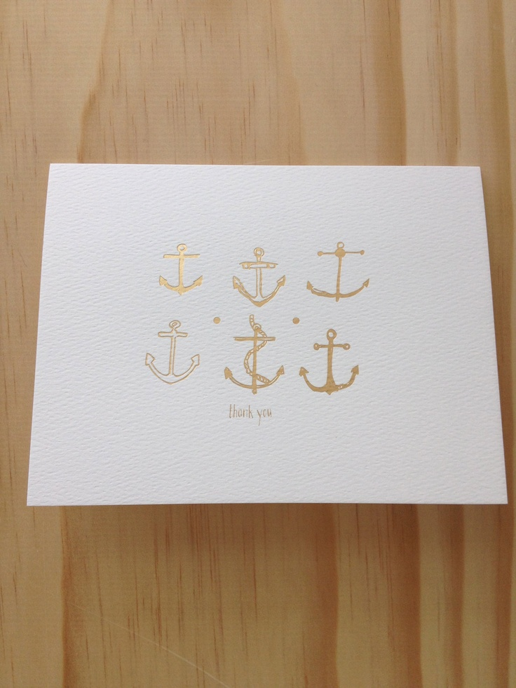 6 Pack Foil Letterpress Anchor Thank You Cards. $17.50, via Etsy by