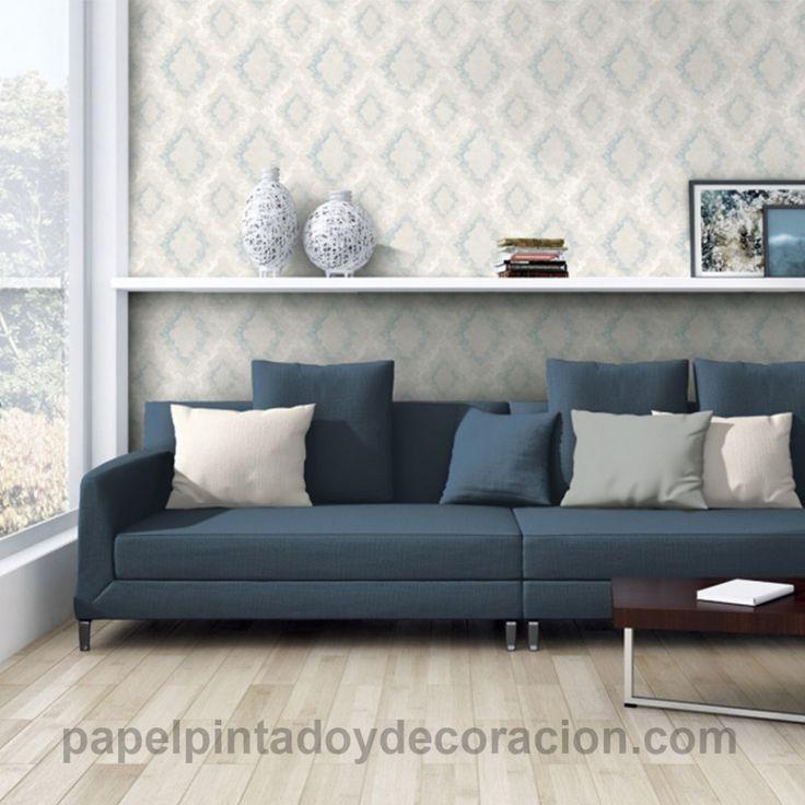 Papel pintado rombos vintage en relieve azul con brillo y blanco fondo gris claro PDA8329893